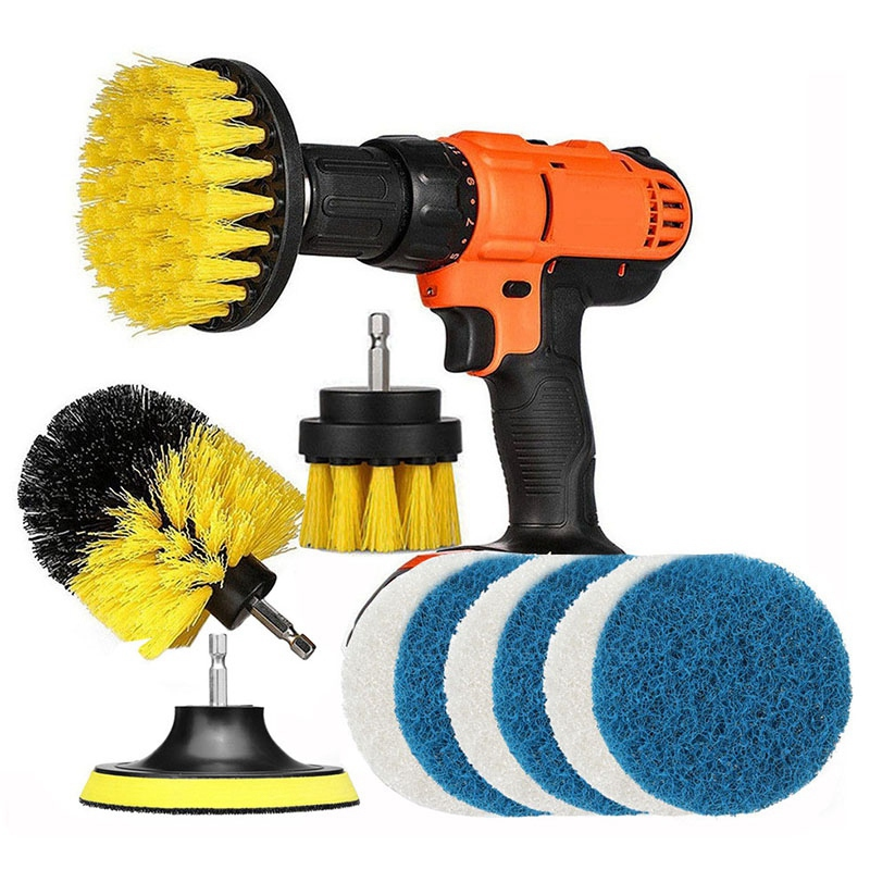 11 Pcs Power Scrubber Brush Drill Brush Clean For Bathroom Surfaces Tub Shower Tile Grout Cordless Power Scrub Cleaning-in Electric Drills from Tools on