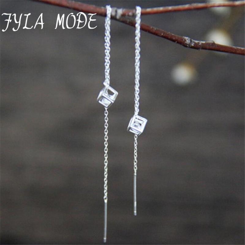 Mode Schöne 925 Sterling Silber Ohrringe Lange Weibliche Luxus ...