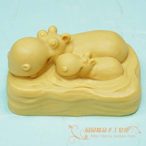 Hipopótamo madre e hijo molde de jabón de silicona molde de vela - Artes, artesanía y costura