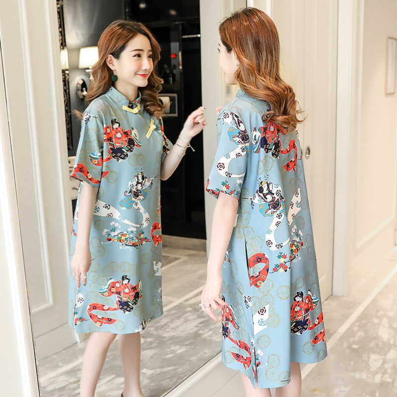4f3c5bc842 7178# Chinese Style Printed Maternity Dress 2019 Summer Fashion Clothes for  Pregnant Women Vintage Elegant