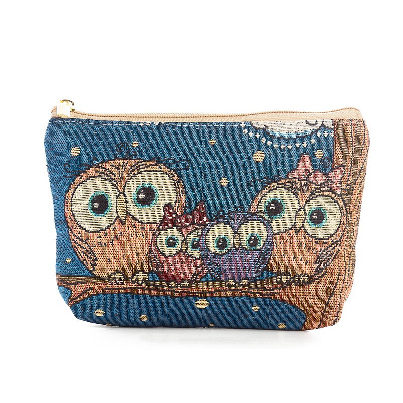 Miyahouse Owl Printed Travel Cosmetic Bag Women Makeup Bags Zipper Small Travel Beauty Organizer Pouch Canvas Make Up Bag