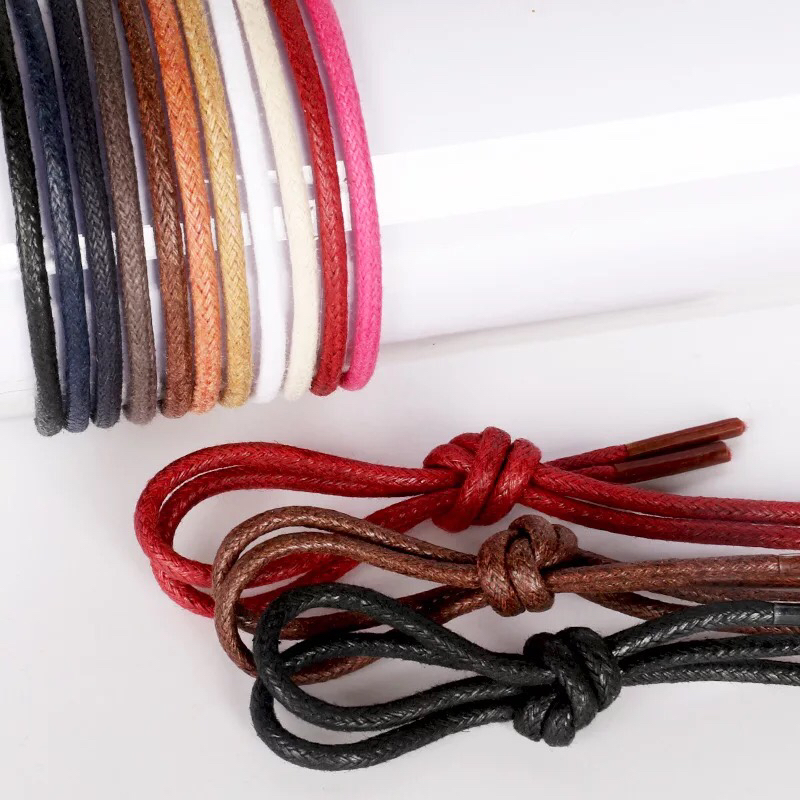 1Pair Waxed Cotton Round Shoe Laces Leather Waterproof ShoeLaces Men Martin Boots Shoelace Shoestring Length 80/100/120/140CM P2