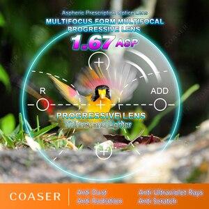 Image 1 - نموذج مجاني متعدد البؤر 1.67 عدسات تقدمية تحويل النظارات اللونية وصفة طبية نظارات قراءة بصرية