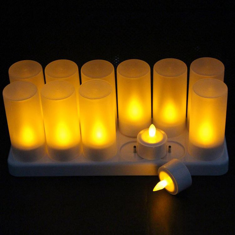 12Pcs Rechargeable LED Flameless Candle Light Long Lasting for Restaurants Home Party Decor CLH@8