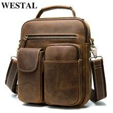 WESTAL mens shoulder/crossbody bags genuine leather messenger bag men's shoulder bag for men handbag flap zipper vintage bags