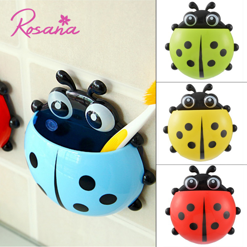Rosana Cartoon Ladybug Toy Toothpaste Toothbrush Holder Tooth Brush Animal Container Cute Bathroom Wall Sucker Suction Cup
