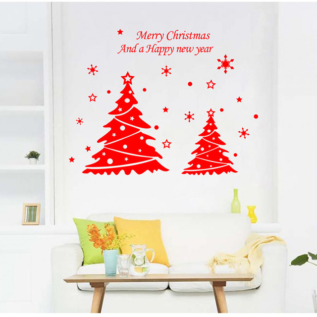 fashion new year christmas tree bedroom living room background decorative wall stickers waterproof removable wallpaper 41