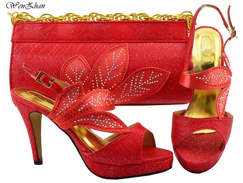 Frauen Party Schuhe und Tasche Set Verziert mit blatt Verkäufe In Frauen Splitter Passenden Schuhe und Tasche Set hohe ferse schuh WENZHAN B86 12 - 6