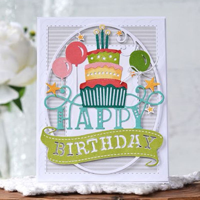 Happy Birthday Cake Card Metal Cutting Dies Stencil Scrapbooking Photo Album Card Paper Embossing Craft DIY
