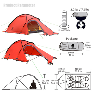 Image 2 - GeerTop חורף אלפיני אוהל האולטרה עמיד למים 2 אדם 4 עונה חיצוני הרי קמפינג אוהלי בטוח משקף חגורת טיול תיירות