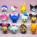 12pcs/lot tsum tsum mini figure set 2017 New PVC tsum tsum stitch hello kitty bear figura doll toys for girls boys gift
