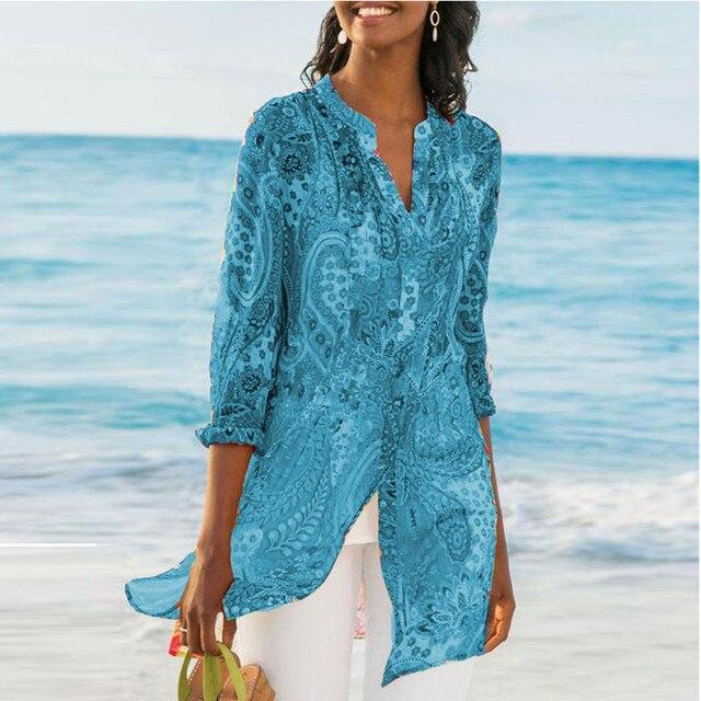 2019 Casual Chiffon Printed Button Retro Beach Dress Women Bohemia Bikini Swimwear Kaftan Beach Cover Up Saida De Praia Pareos 4
