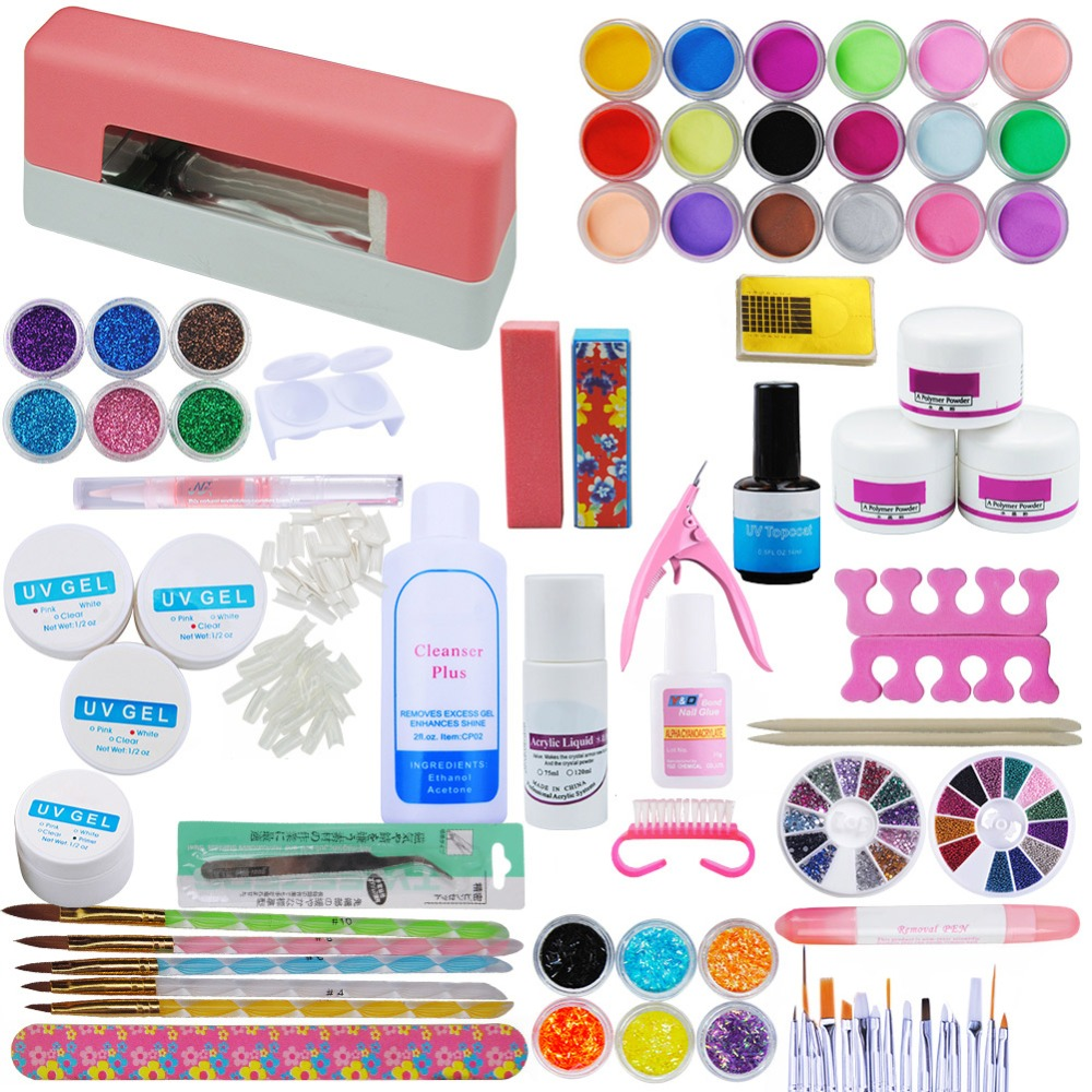 COSCELIA RU Warehouse Big Sale 9w UV Pink Dryer Lamp 30 Color Acrylic Powder Nail Art Kit GEL Manicure Tools Set