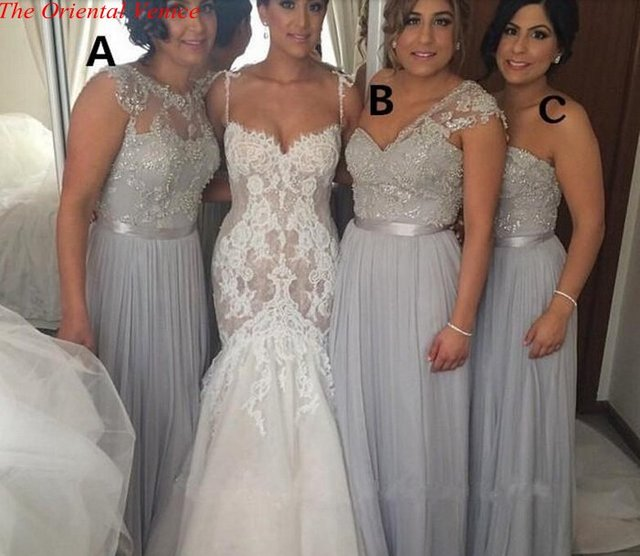 2017 Silver Grey Long Bridesmaid Dresses Cheap A-Line Beaded Lace Applique Wedding  Party Gowns 07f3db67f7e1