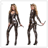 2016 New Fashion Leather Clothing Halloween Fun Explosion Lingerie Leopard Cat Girl Stage
