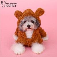 Lovely Dog Cat Coat Bear Velvet Pajamas Pet Winter Warm Horns Hoodie Puppy Jumpsuit Costumes Apparel