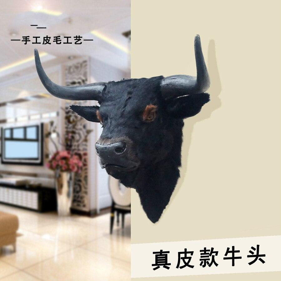 Simulated Animal Bull Head Decorative Ornaments Bar Living Room Handicraft With Bull Head Specimens Hang On Home Wall