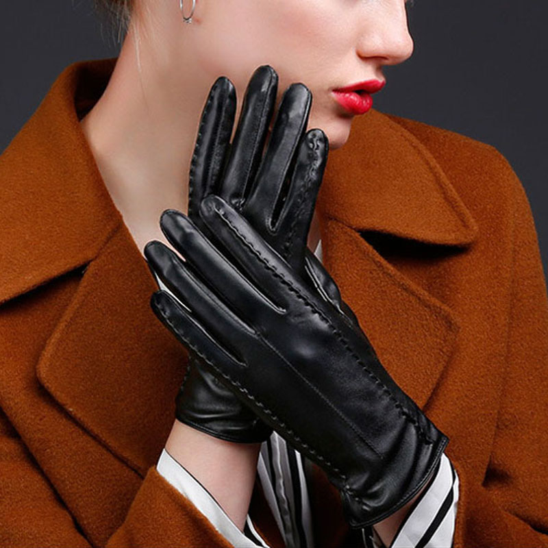 PU Leather Women Outdoor Gloves Plush Windproof Full Finger Touches Screen Mittens Autumn Winter Lady Causal Warm Glove