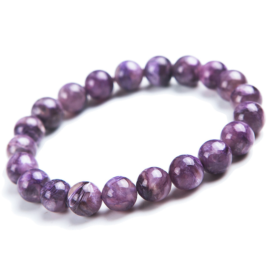 9mm Genuine Russian Gems Natural Stone Purple Charoite Round Beads Crystal Fashion Jewelry Women Stretch Charm Bracelet Femme 8mm genuine natural purple sugilite crystal beads women lady fashion gems stone jewelry stretch bracelet