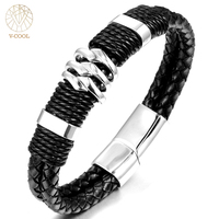 Handmade Genuine Leather Weaved Double Layer Men Bracelets Fashion Casual Bicycle Delicate Cool Motorcycle Bracelet VB487