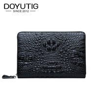 DOYUTIG Business Design Men's Genuine Leather Black Long Clutch Bags Crocodile Pattern Card Holder Wallets & Money Purses B049