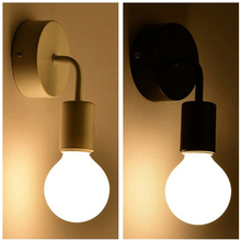 Nordic Modern Wall Lamp Iron Black E27 Indoor Lighting Bedside Bedroom Bathroom Lamp Sconce Wall Light Fixture Industrial Decor