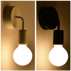 Nordic Modern Wall Lamp Iron Black E27 Indoor Lighting Bedside Bedroom Bathroom Lamp Sconce Wall Light Fixture Industrial Decor
