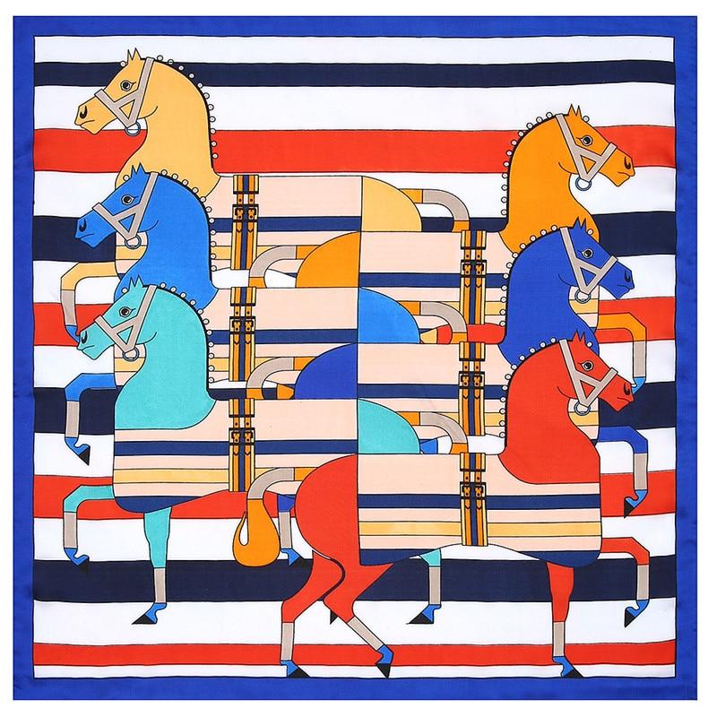POBING 100% Silk   Scarf   Woman Patchwork Horse Print Square   Scarves   Luxury Bandanas Small Hijab Foulards Lady Tie Headband 53x53CM