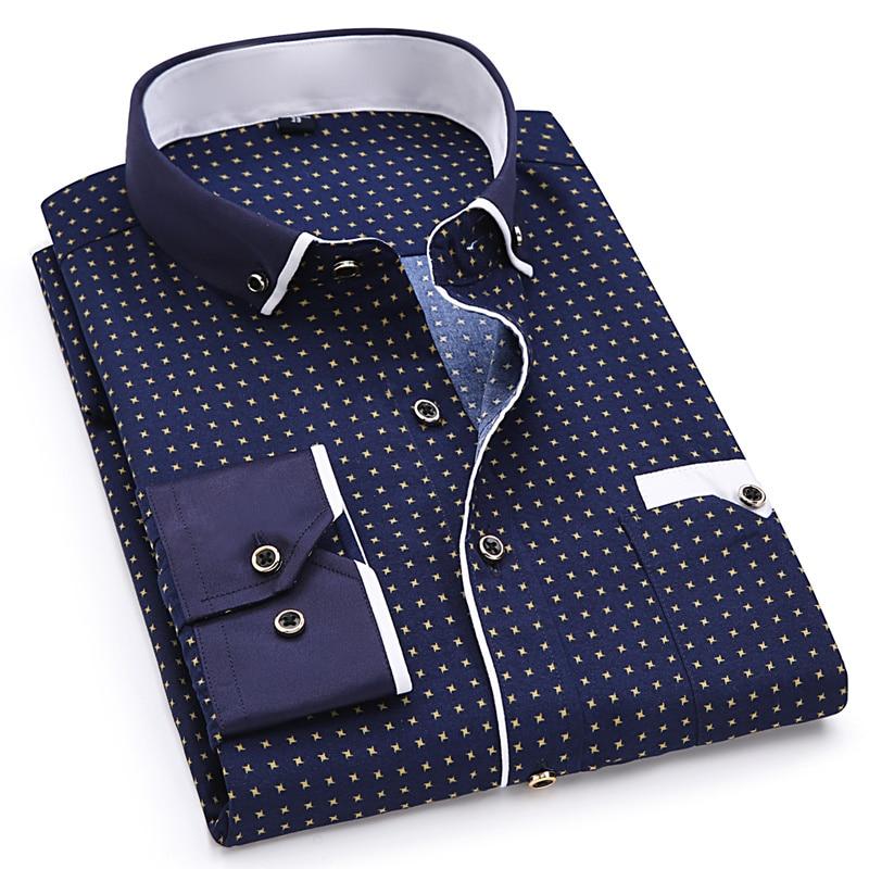 แฟชั่นพิมพ์สบายๆยาว Sleeve เสื้อแฟชั่นออกแบบกระเป๋าผ้านุ่มสบาย SLIM FIT สไตล์ 8XL