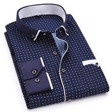 Stampa di modo Casual Uomini Camicia A Maniche Lunghe Cuciture Tasca di Modo di Disegno Tessuto Morbida E Confortevole Uomo Vestito Slim Fit Stile 8XL