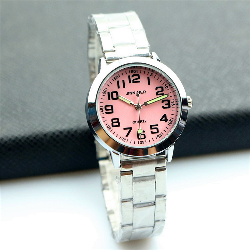 Nazeyt Middle Student Girls 7 Colors Face Dial Lovely Quartz Watch Women Luminous Hands Alloy Steel Strip  Clock Reloj Femenion