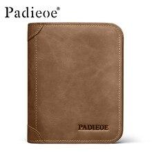 Padieoe Vintage Genuine Leather Men Wallets Brand Billfold Wallet Purse Credit Card Holder