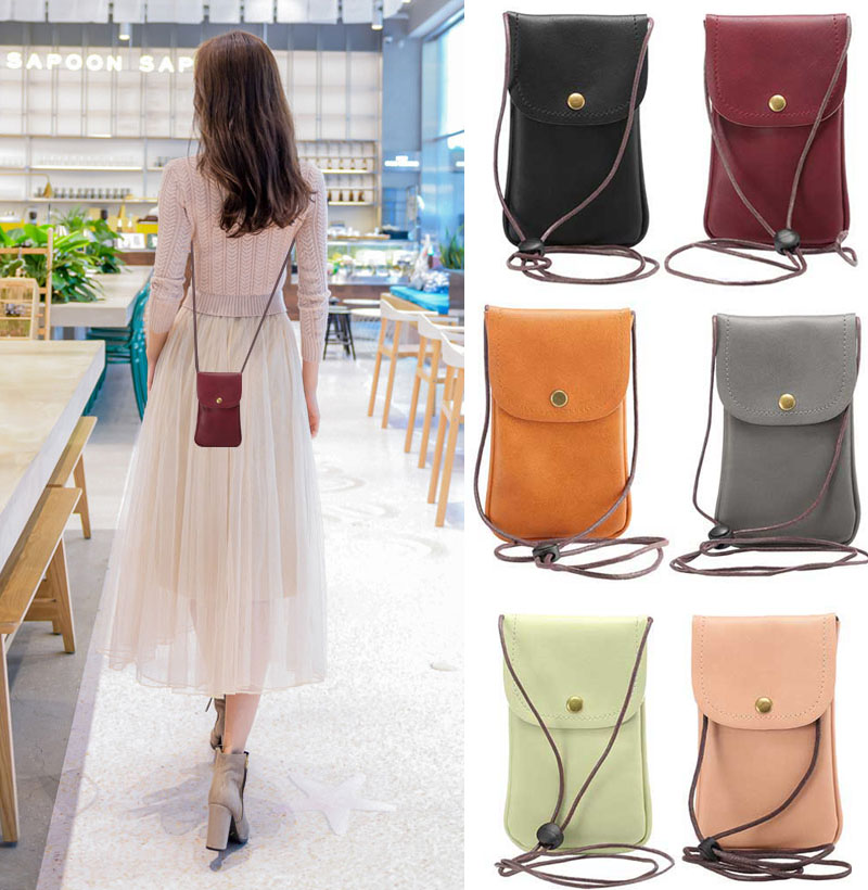 Universal Casual Mini 5.5- 6.0 Inch Phone Bag Hanging Neck Messenger Bag PU Leather Case Pocket Lanyard Card Slot Shoulder Pouch