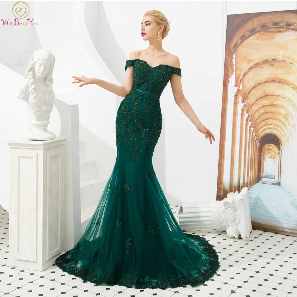 Royal Blue Evening Dresses 2019 Boat Neck Off The Shoulder Sequined Mermaid Sweep Train Prom Elegant Formal Party Gown For Girls