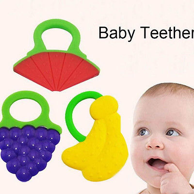 1 Pcs Infant Baby Teether Lovely Cartoon Shape Teethers Silicone BPA Free For 4M+ Baby