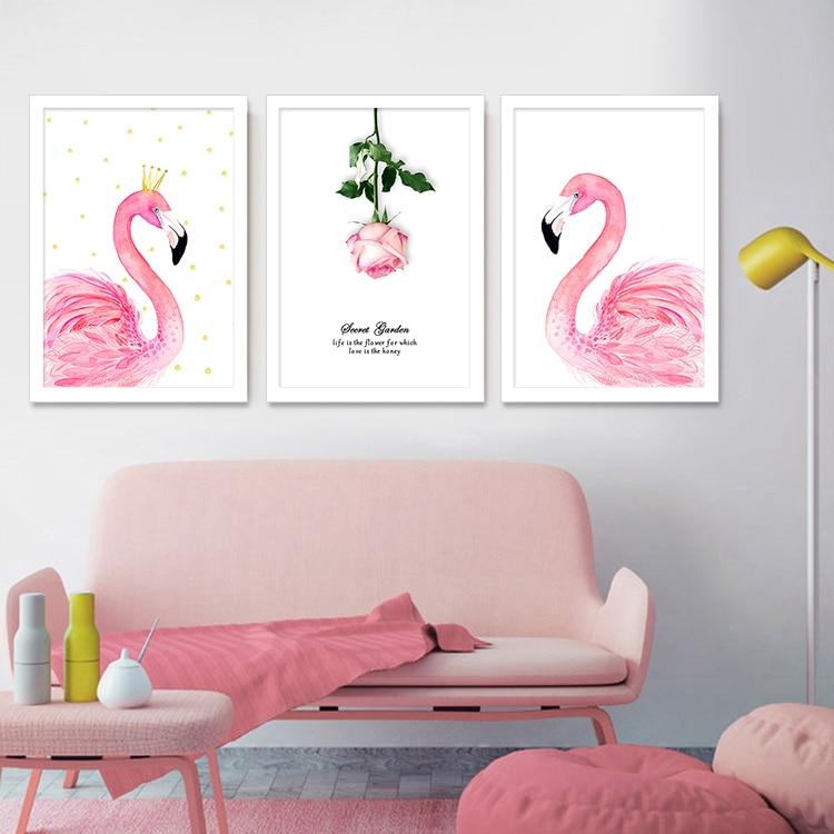 постеры розовые фламинго