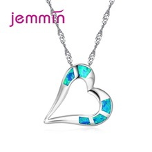 Jemmin Lovely Romantic Valentine's Day Heart Blue Fire Opal Necklaces For Women 925 Sterling Silver Pendants Necklace Jewelry