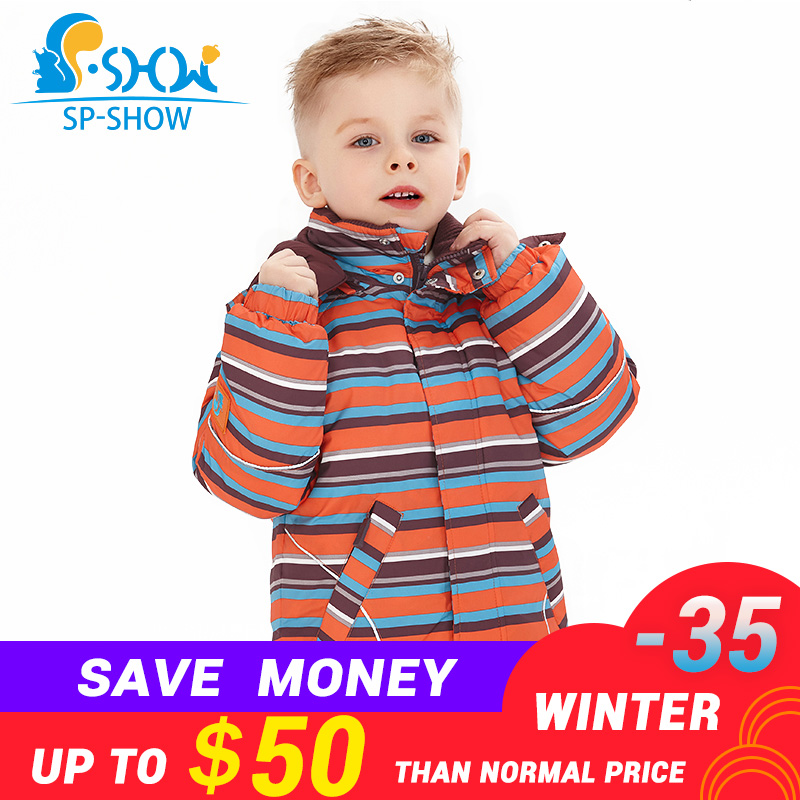 SP-SHOW зима Детская верхняя одежда водолазка в полоску и с принтом Куртки детская одежда для мальчиков и девочек Лыжная куртка костюм 009/011