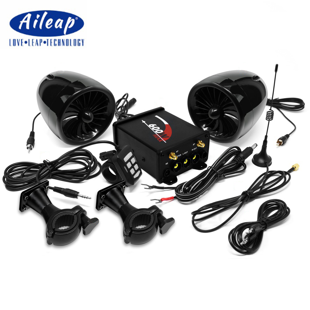 Aileap Motorcycle/ATV Audio System with Bluetooth FM Radio Aux Input Wired Control One Pair of 4 Waterproof Speakers (Black)