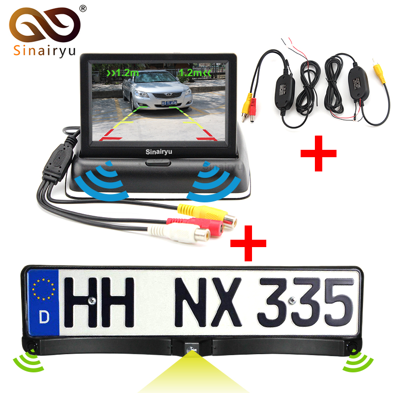Parking Assistance European License Plate Frame Car Camera,Car Reversing Camera Two Parking Sensors Mirror Monitor And Wireless 2017 car parking sensors kit car led europe license plate frame rearview camera 4 3 car tft monitor speaker parking assistance