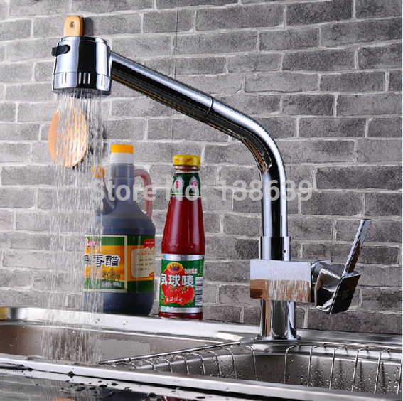Free shippig Best Quality Wholesale Chrome Solid Brass Water Power Kitchen Faucet Swivel Spout Pull Out