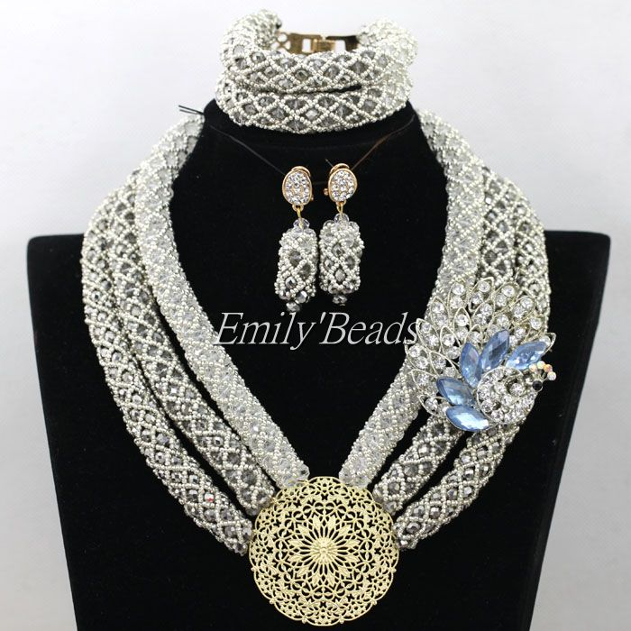 Nigerian Women Party Jewelry African Costume Jewelry Set 3 Rows Wedding Crystal Beads Bridal Necklace Set Free Shipping AIJ681 цена