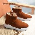 BeauToday/женские зимние ботинки; брендовые высококачественные женские ботильоны из натуральной коровьей замши на молнии; ручная работа; 08012
