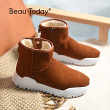 BeauToday Women Snow Boots Brand Top Quality Genuine Leather Cow Suede Zipper Closure Winter Lady Ankle Handmade 08012