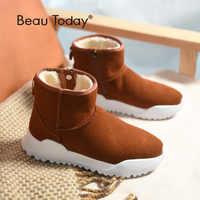BeauToday mujeres botas de nieve de marca de calidad superior cuero genuino vaca cremallera cierre invierno señora tobillo botas hecho a mano 08012