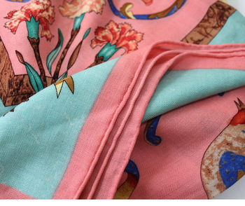 Square Silk Scarf | Silk Cashmere Blended Scarf Women Winter Warm Scarves Square Large 130*130cm Brand Design Floral Shawls Wraps Handmade Hemming
