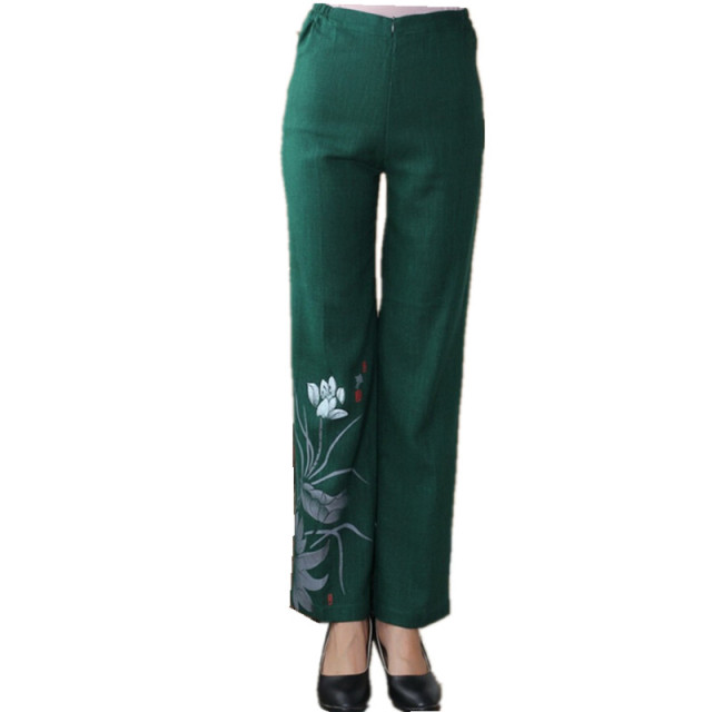 Green Chinese Traditional Style Women Hand Drawn Lotus Trousers Full Length Fashion Pant Flower Size M L XL XXL XXXL 4XL