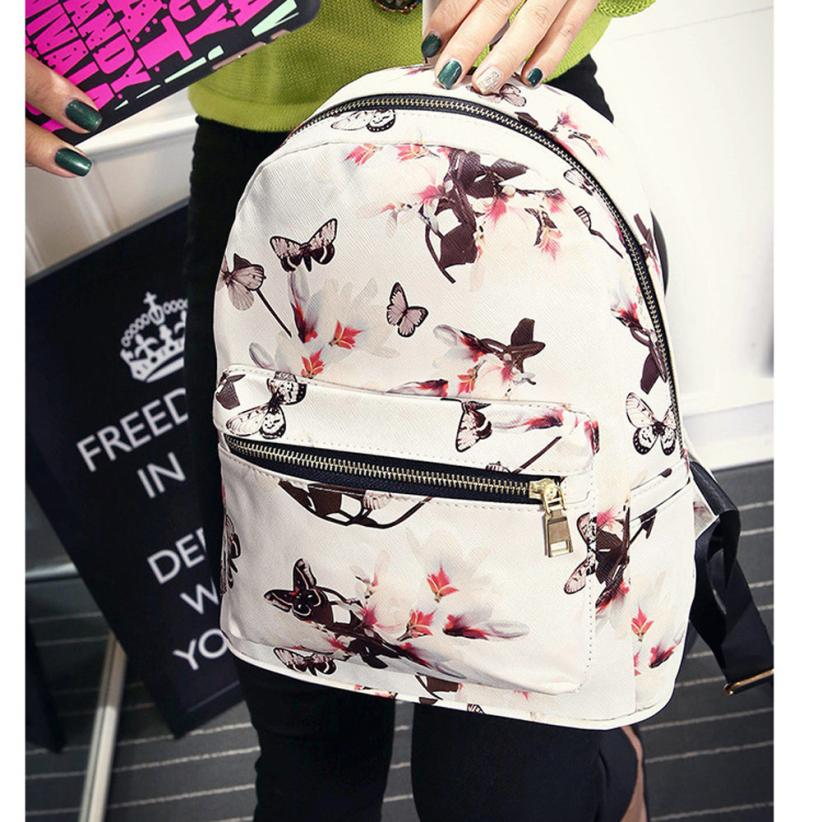 maison Backpacks high quality fashion Floral Butterfly printed PU Leather Shoulder backpack Zipper backpack women 2018MA3
