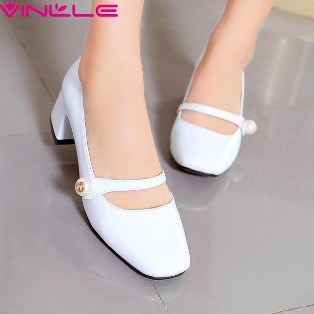 VINLLE White  Mary Janes PU Woman Shoes Black Thick Heel Woman Pumps Summer Ladies  Fashion Square Toe Dating Shoes