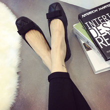New pu women flat shoes Square head bow lady shoes TPR sole flats women loafers  fashion women shoe 2016 plus size 41